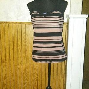 Black & pinkish stripe Ann Taylor tank top